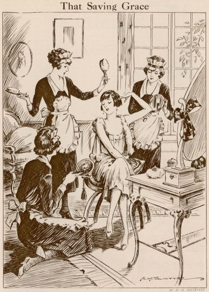 "A young woman beautifies herself at her dressing table with the help of no less than three maids! The cartoon punchline reads, ""Apart from the hygienic value of bobbed hair, there is an advantage of unlimited saving of time and trouble"