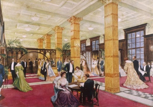 The lobby of the Savoy Hotel : guests arriving for dinner