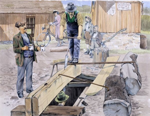 Two carpenters use a large upright saw to split a large wooden plank. A colleague is signalling a break with the arrival of a cup of tea, whilst two boys look on with keen interest. Painting by Malcolm Greensmith