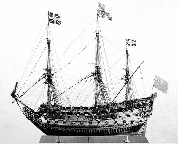 Photograph of a model of an 80-gun ship of Charles the Second's Navy, of about 1680. The model, made of boxwood and walnut, was 53 inches long and was being offered for sale in 1929 by J.M. Botibol of Hanway Street. The flags on the mast-heads