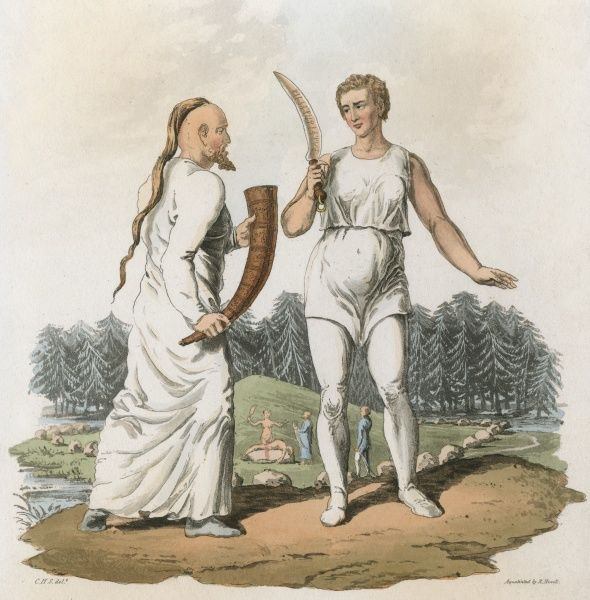 Druid priest (drotte) and priestess (fola), of Denmark or Sweden equivalent to the Druids in Britain. Date