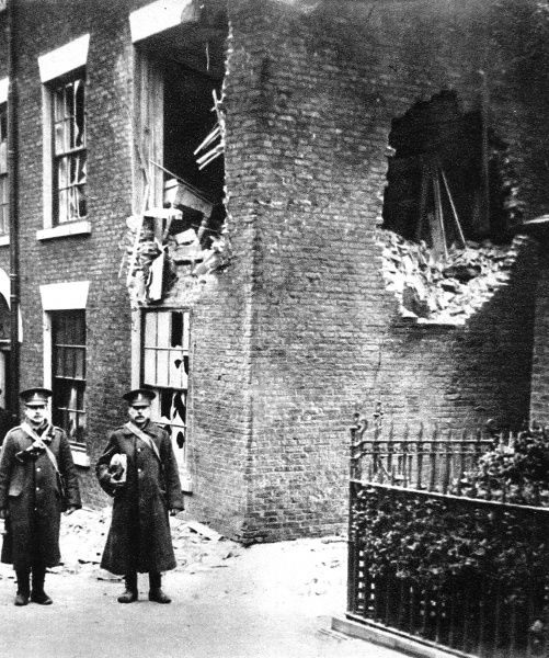 Scarborough after the German east coast bombardment: Kingscliffe camp offices damaged by a shell
