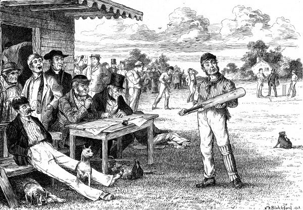 Engraving of a scene beside the pavilion at a county cricket match, circa 1881. On the left of the image are a number of spectators and the two scorers, sitting at their table; on the right, one of the batting side, perhaps the last man out