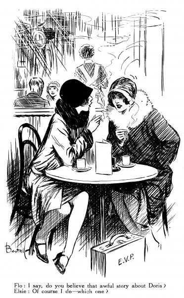 Flo: I say, do you believe that awful story about Doris? Elsie: Of course I do- which one? An illustration of two ladies catching up with the gossip inside a cafe. Alfred Bestall (1892-1986) is best-known as the artist who drew Rupert Bear for thirty years