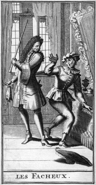 Scene from 'LES FACHEUX' - judging from appearances, a servant is about to be struck with his master's cane for letting his hat fall on the floor. Date: first performed 1661