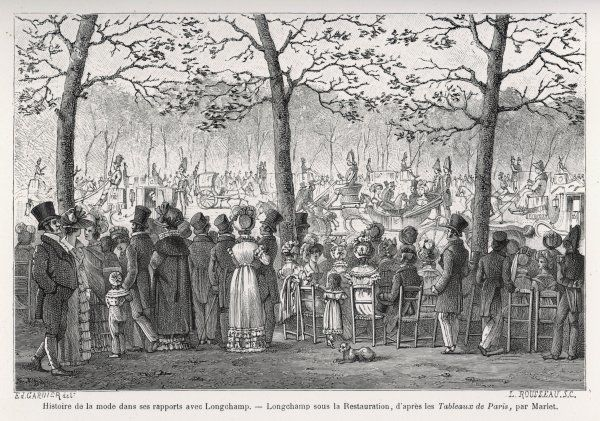 Fashionable crowd at Longchamp, on the outskirts of Paris, during the early years of the Restauration