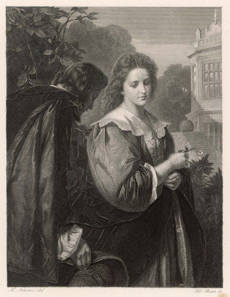 A scene from Shakespeare's comedy, Much Ado About Nothing, depicting Beatrice and Benedick in the garden