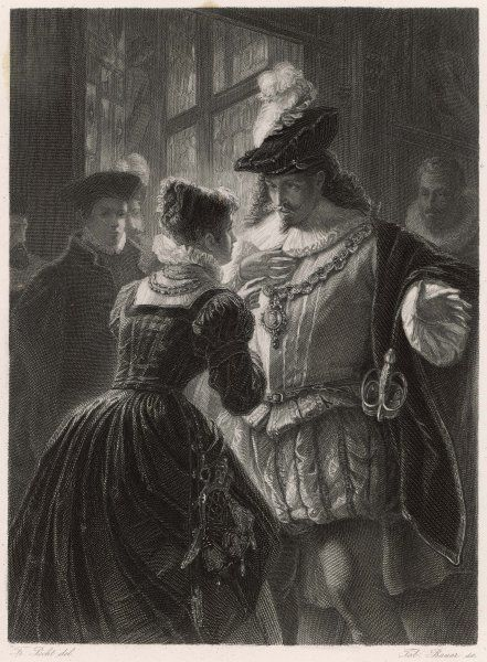 A scene from Shakespeare's comedy (or problem play), All's Well That Ends Well, in which Helena speaks to Bertram, Count of Rousillon. Helena is in love with him, but he does not care for her