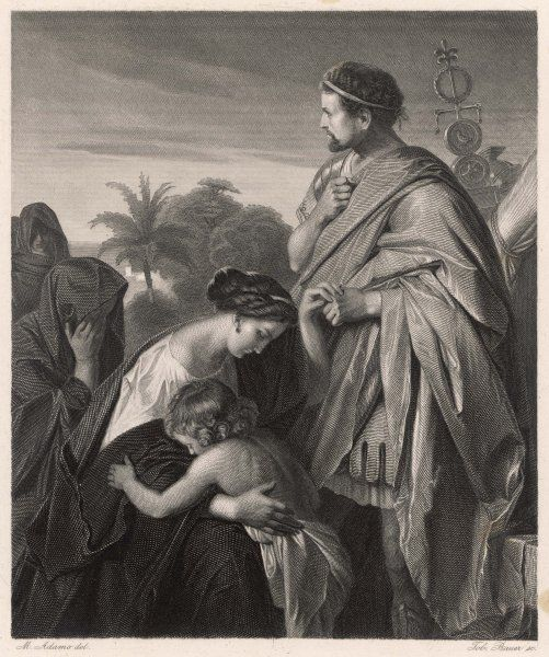 A scene from Shakespeare's Roman play, Coriolanus, in which Coriolanus's family begs him to spare Rome