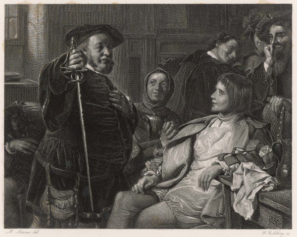 A scene from Shakespeare's history play, Henry IV Part 1, showing Falstaff and Prince Hal chatting