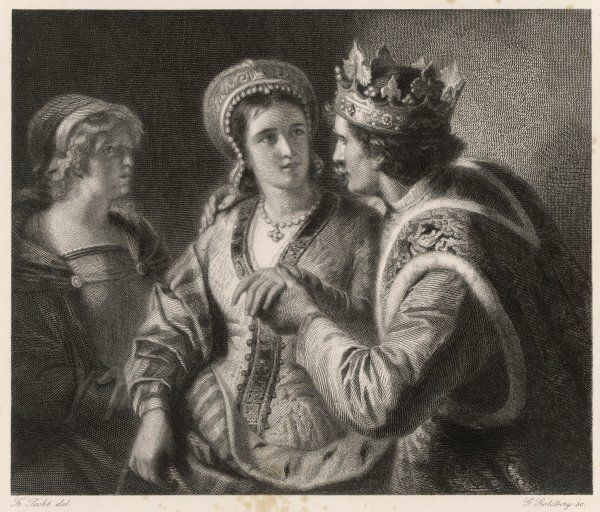 A scene from Shakespeare's history play, Henry V, depicting his wooing of Catherine de Valois, whom he married in 1420