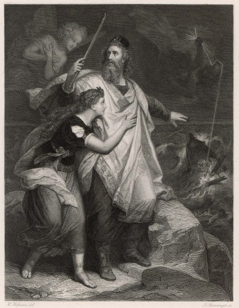 A scene from Shakespeare's play, The Tempest, in which Prospero and his daughter Miranda watch the shipwreck -- fortunately, no-one will be harmed
