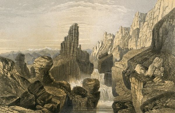 The fantastic rock-and-river landscape of Tehim-Bouac in the Alatou mountains of Chinese Tartary. Date: 1858