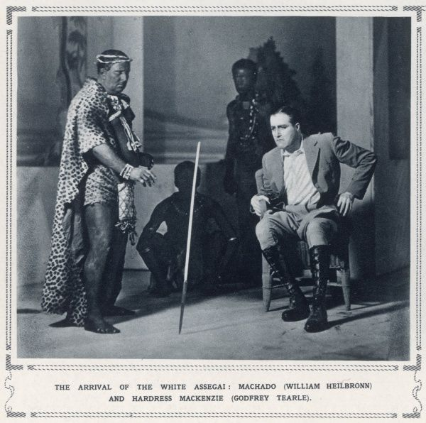 A scene from a play by Allan King, produced at the Playhouse, London in 1930, the story of a Native Commissioner in colonial Africa