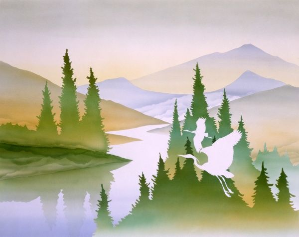 Rural scenery with mountains, a lake, and fir trees, with two birds flying across