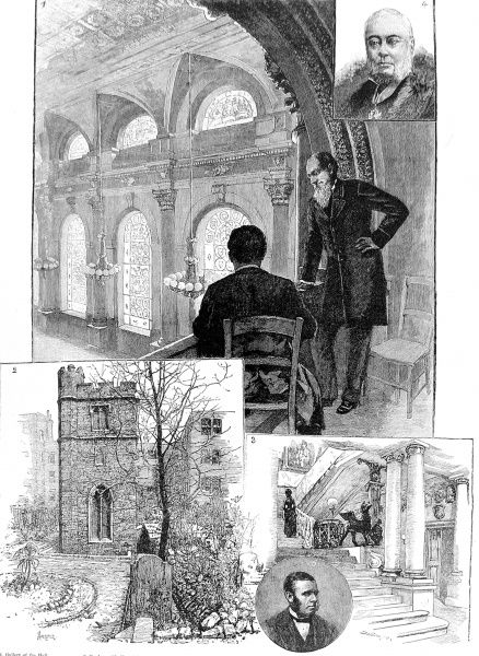 Engraving showing a number of scenes associated with the Clothworkers' Company, one of the London City Guilds, 1884