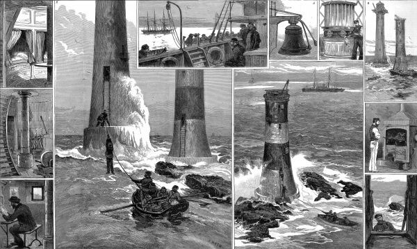 Engraving showing a number of views of the then new Eddystone lighthouse, designed by Sir James Douglass, May 1882. The old, Smeaton designed, lighthouse can also be seen, with the red and white paint scheme