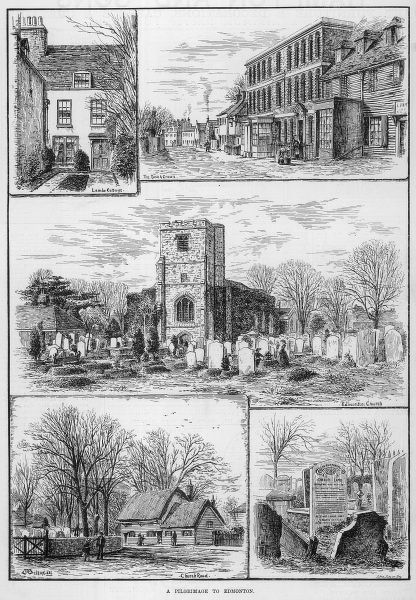 Engraving showing a number of scenes in Edmonton, North London, 1883. The images show (clockwise from top left): Lambs Cottage; The Rose and Crown; Edmonton Church; Grave of Charles Lamb; Church Road