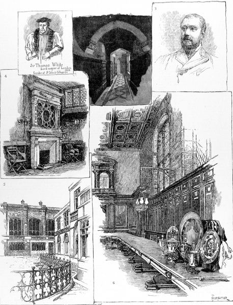 Engraving showing a number of scenes associated with the Merchant Taylors' Company, one of the London City Guilds, 1884