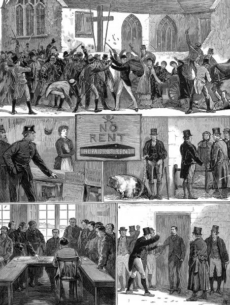 Scenes in the late 19th century during the Rent War in Tipperary as follows: 1. A Riot at Templebraden, Limerick County 2. Boycotted Policemen 3. A 'No Rent' Placard 4. Boycotted at the Pig Market, Tipperary 5. A collection at the Town Hall