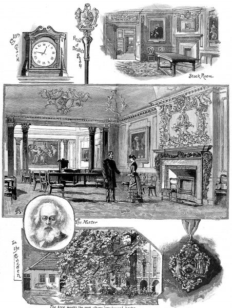 Engraving showing a number of scenes associated with the Stationer's Company, one of the London City Guilds, 1884