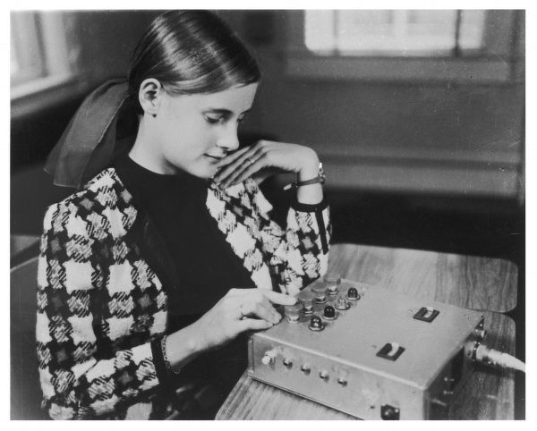 HELMUT SCHMIDT's random number generator experiments : a subject at the Institute of Parapsychology, Durham, North Carolina, attempts to predict or affect the RNG display