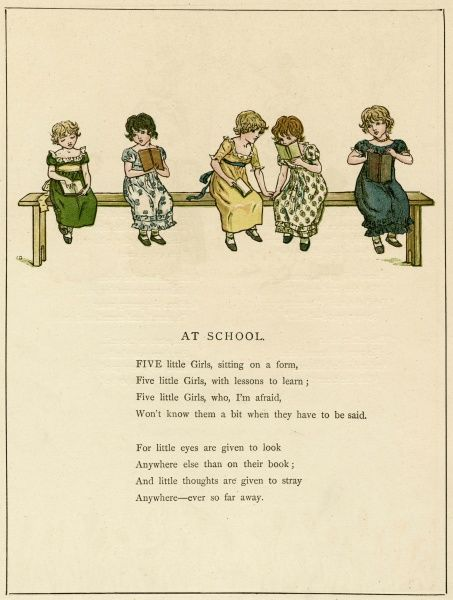 Five little girls, sitting on a form; Five little girls, with lessons to learn...  1885