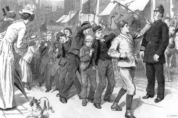 Engraving showing a school children's 'strike' of 1889, which started in the East End of London in imitation of the Dockers strike that year. The children shown were marching under banners such as 'No cane', 'Shorter hours&#39