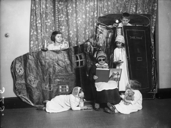 Children put on a play of 'The Old Woman Who Lived in a Shoe' at Seapoint School, Birchington, Kent, England