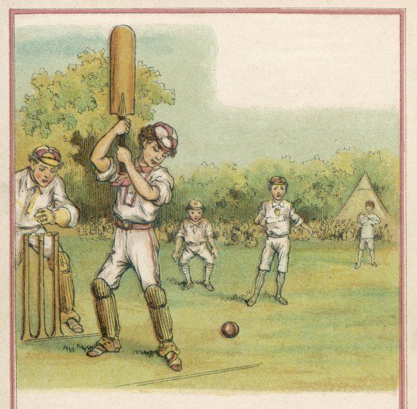 A schoolboy batsman prepares to smite the rosy orb forcefully through extra cover