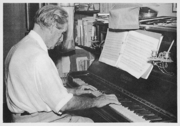 ALBERT SCHWEITZER French theologian, philosopher, missionary physician and music scholar playing Bach on the piano at Lambarene, Africa