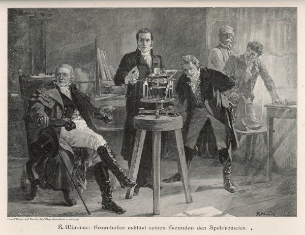 JOSEF VON FRAUNHOFER demonstrates his spectrometer at Munich, 1814