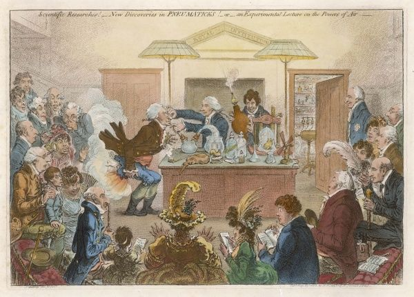 'New Discoveries in Pneumaticks!' A satire on the Royal Institution: Thomas Young experiments on Hippisley, Humphry Davy at the bellows, Rumford by the door