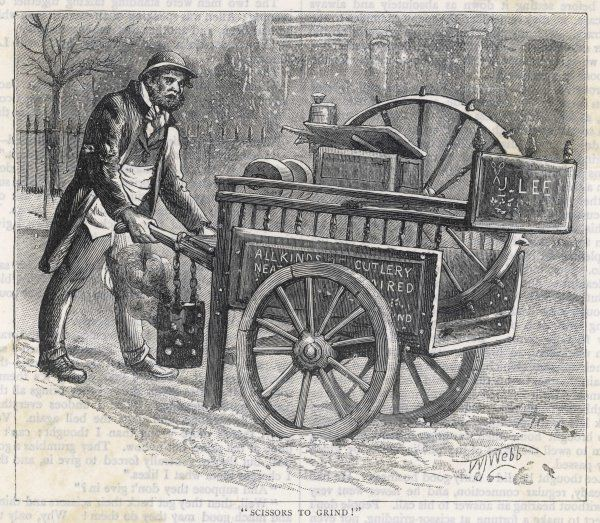Mr J Lee pushes his barrow through the London streets, offering to sharpen your scissors and all kinds of cutlery