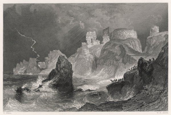 Dramatic coastal view of Dunbar Castle during a severe storm