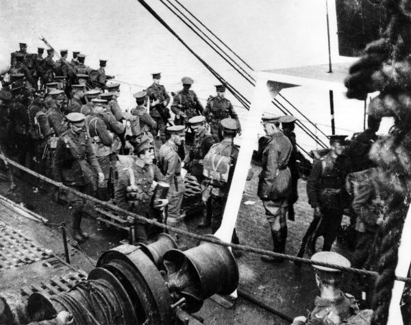 Men and officers of the 2nd Scots Guards on board the SS Lake Michigan during the First World War. Date: 6 October 1914
