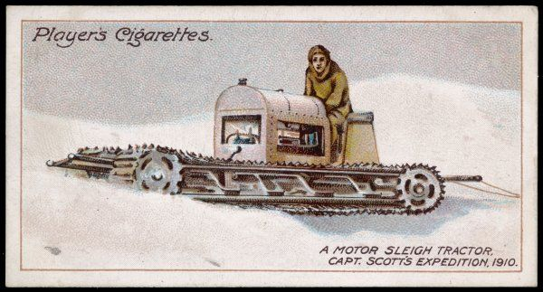 Scott's last expedition - he was beaten to the South Pole by Roald Amundsen. Scott did not make it back. Motor sleigh tractor used by Scott