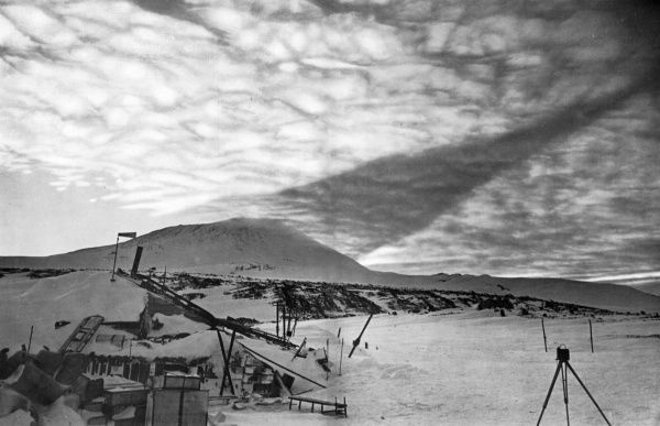 An earth shadow from Mount Erebus on Antarctica, cast on the clouds and seen during the ill-fated Scott polar expedition of 1910 - 1912