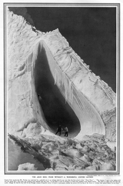 Awe-inspiring curved cavern within an iceberg, found by the Scott polar expedition shortly after the arrival of the Terra Nova at Antarctica
