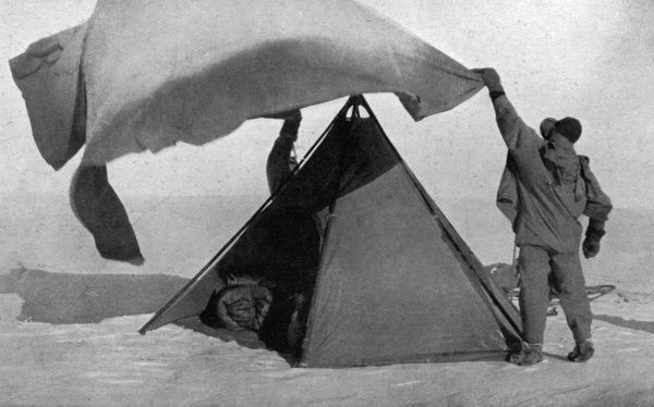 The double tent used by Captain Scott on the last journey of his ill-fated polar expedition to the South Pole, 1910 - 1912, shown in a photograph by Lieutenant H. R. Bowers on the upper plateau. Date: 1913