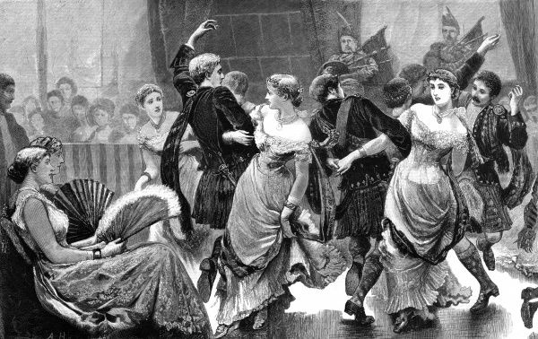 The Caledonian Ball - dancing the Reel o' Tulloch Date: 1878