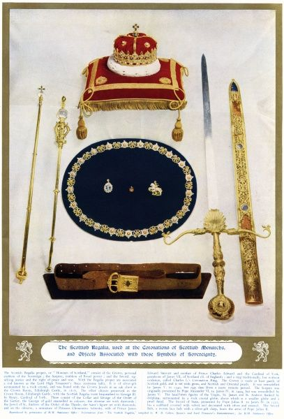 The Scottish regalia used at the coronations of Scottish Monarchs, and objects associated with the symbols of Sovereignty. The Crown is a personal emblem of the Sovereign, the Sceptre is an emblem of Royal power, the Sword signifies justice
