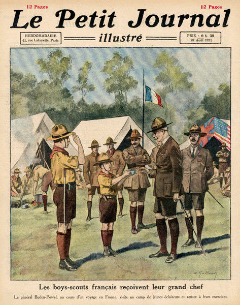 Chief scout, Lord Robert Stephenson Smyth Baden-Powell, visits a French scout camp