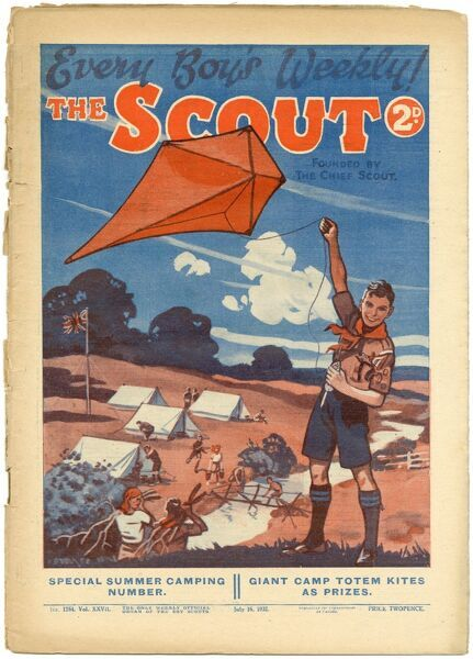"Front cover of The Scout magazine, ""the only weekly official organ of the Boy Scouts"" featuring a happy boy scout flying a kite while all his fellow scouts carry out the manly tasks of pitching tents, gathering firewood and building"