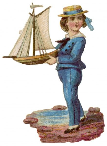A boy dressed in blue holds a model yacht