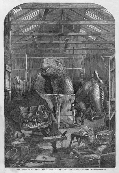 Waterstone Hawkins and an assistant in his workshop, creating the prehistoric animal sculptures for the grounds of the Crystal Palace at Sydenham