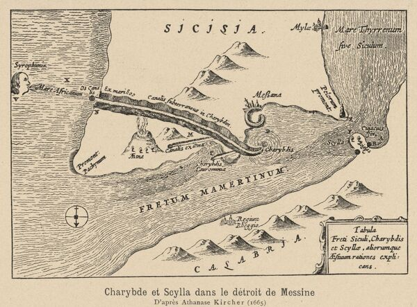 Map showing the location of Scylla, the six-headed monster who lived in a cave next to the deadly whirlpool Charybdis, in Sicily