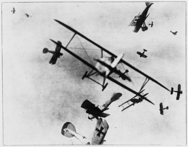 English SE5s and Bristol fighters fly against German Albatross aircraft in the skies over Europe
