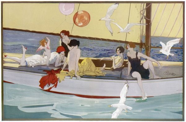 Colour illustration by Edmund Blampied (pseudonym,'Blam') depicting a group of girls relaxing on a sailing boat