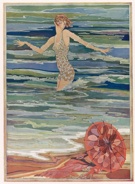 Stylised colour illustration showing a lady bathing in the sea swathed in pearls